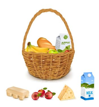 Traditional Woven Basket With Products