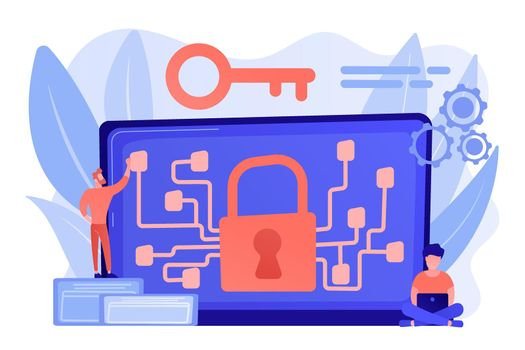 Cryptography and encryption concept vector illustration.