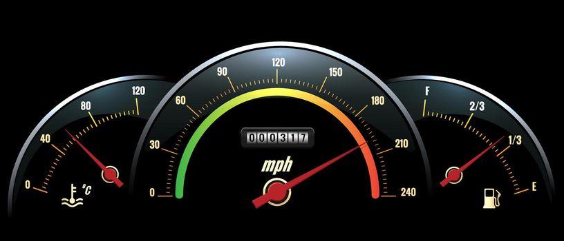 Vector Speedometer. Temperature indicator and fuel