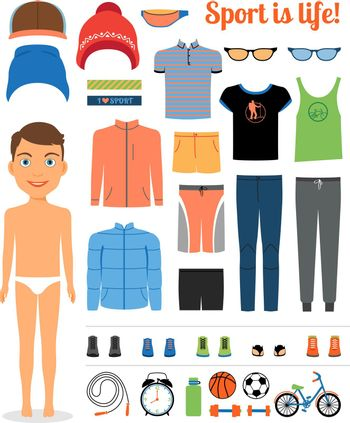Sport boy. Clothing and sports equipment for fitness