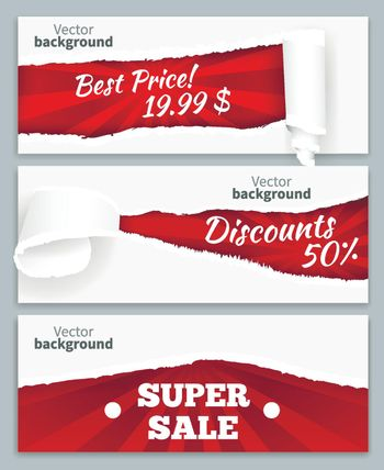 Torn Paper Sale Banners