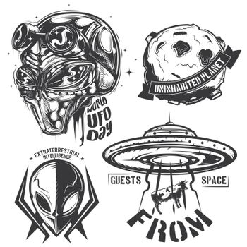 Set of UFO elements (aliens, flying saucer, planet etc.) emblems, labels, badges, logos. Isolated on white