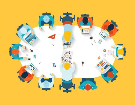 Teamwork. Business brainstorming top view