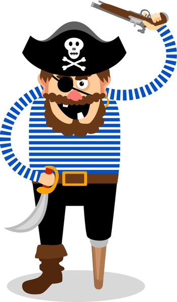 Vector pirate on a white background