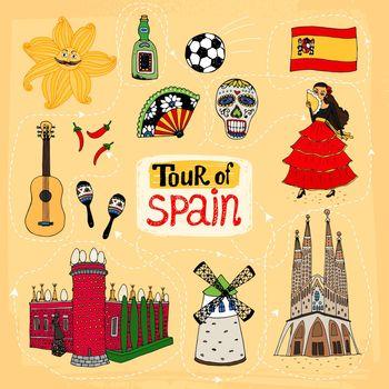 Tour of Spain hand-drawn illustration