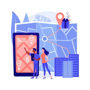 Interactive city quest abstract concept vector illustration.