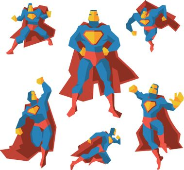Superhero in different actions. Vector set