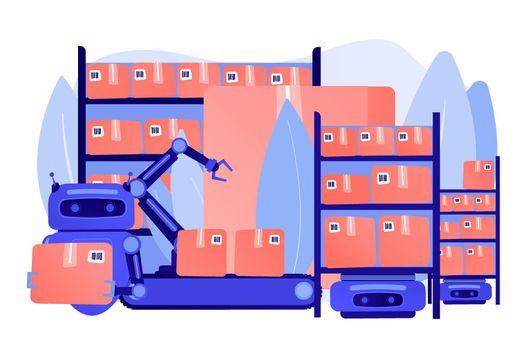 Warehousing robotization concept vector illustration
