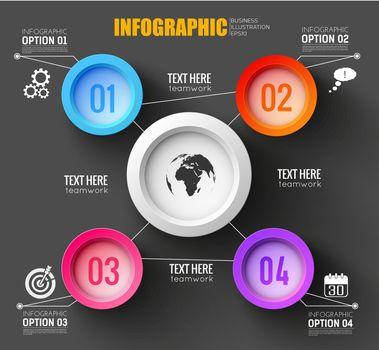 Teamwork Infographic Black Background
