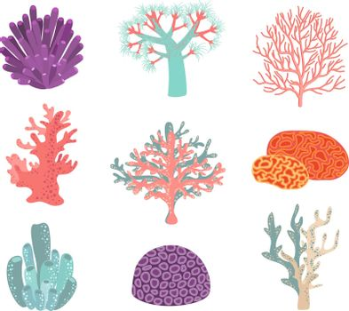Set of underwater color coral icons