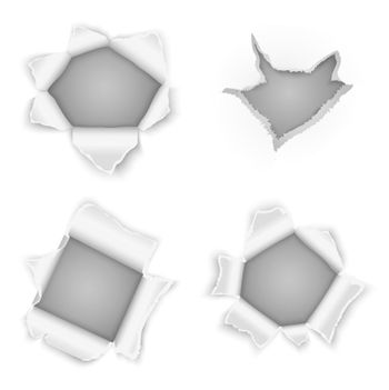 Torn paper holes vector collection