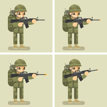 Soldier flat design animation shot weapon