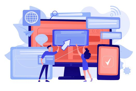 Cross-browser compatibility concept vector illustration.