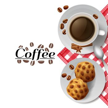 Coffee with cookies breakfast composition illustration