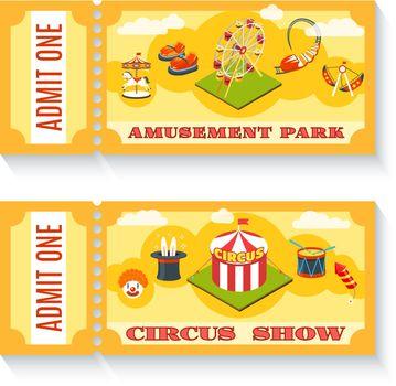 Two vintage amusement park tickets set