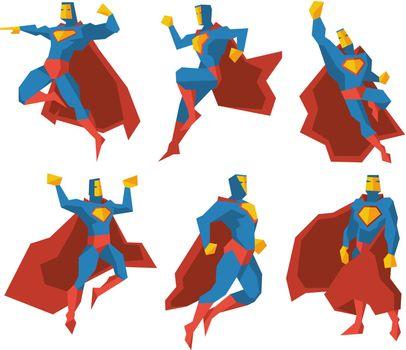 Superhero silhouettes vector character set