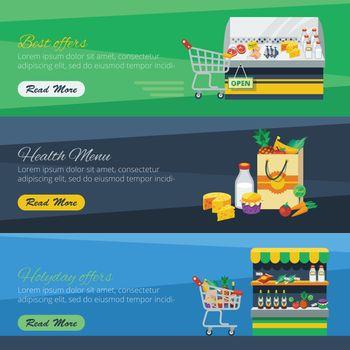 Three Horizontal Supermarket Banners