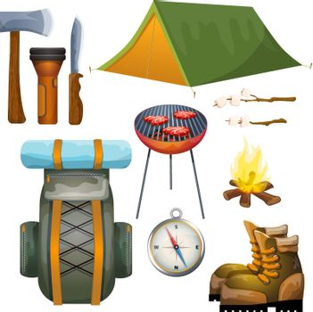 Tourism hiking camping flat pictograms collection