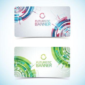 Futuristic Card Banners Set