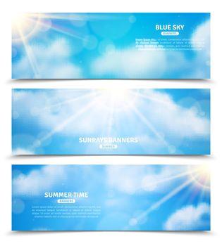 Sun through clouds sky banners set