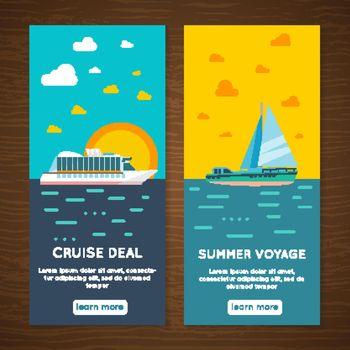 Sea cruise 2 vertical  banners set