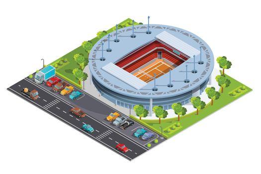 Tennis sport complex with open court stadium isometric Banner