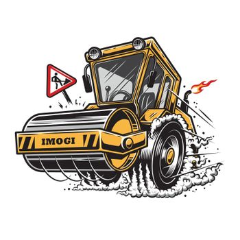 Vector illustration of steamroller with smoke under the wheels