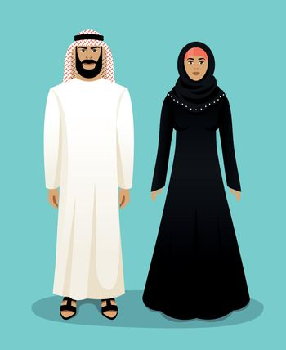 Traditional arab clothing. Man and woman