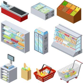Isometric Supermarket Icons Set