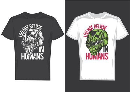 T-shirt design on 2 t-shirts with posters of aleins.