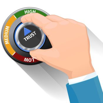 Trust knob button or switch. High confidence level vector concept