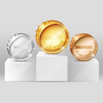 Sports Medals On Pedestal Design