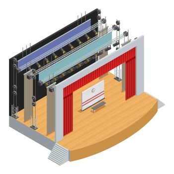 Isometric Theater Stage Poster
