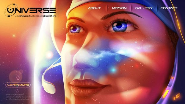 a female astronaut is looking further away with determination eyes with a reflection of the universe on her helmet visor.