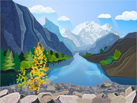 Landscape summer mountains range  print