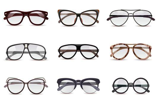 Realistic Eyeglasses Set