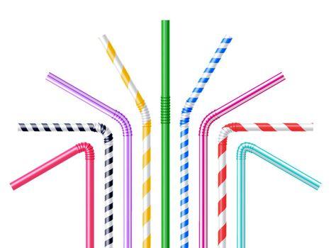Drinking Straws Realistic Illustration