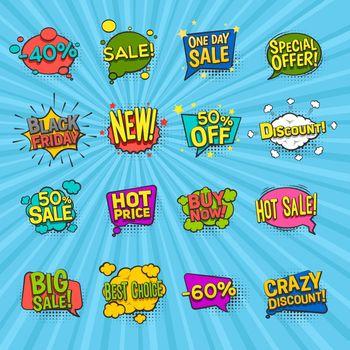 Discount Comic Icons Set