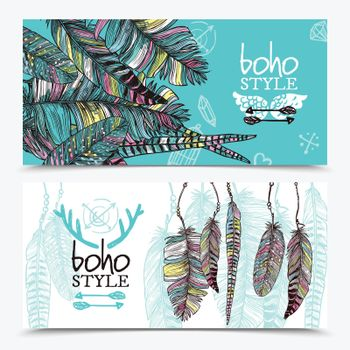 Sketch Feathers Horizontal Banners