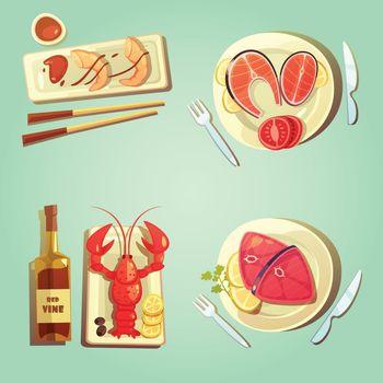 Sea Food Cartoon Icons