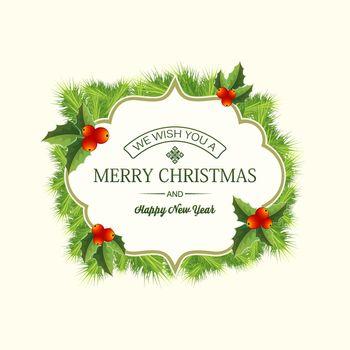 Realistic Christmas Coniferous Wreath Template