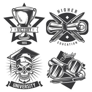 Set of vintage educational emblems, labels, badges, logos. Isolated on white
