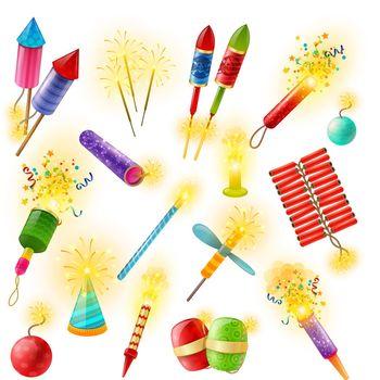 Pyrotechnics Firework Cracker Sparkler Colorful Set