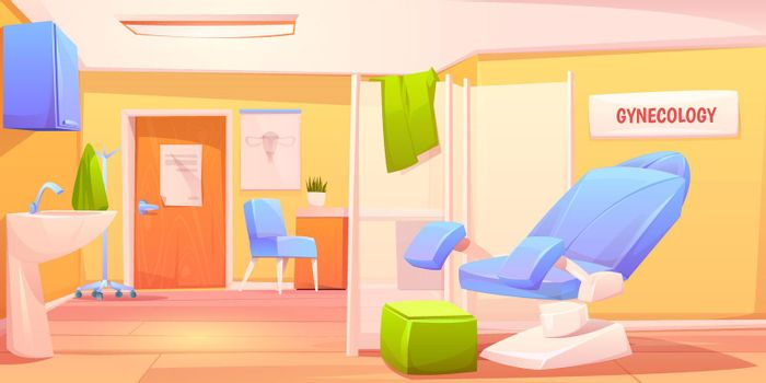 Gynecology doctor office. Patient examination room