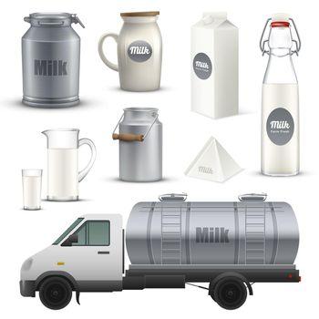 Product Milk Realistic Set