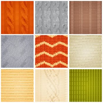 Realistic Knitted Patterns Samples Set