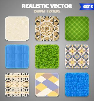 Realistic Carpet Texture Patterns Set