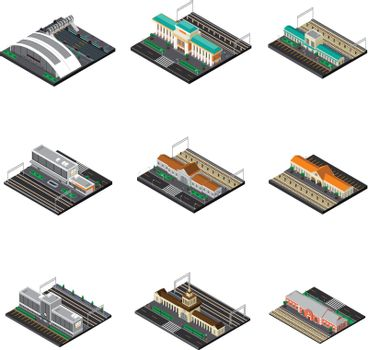 Railway Station Isometric Set