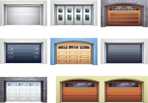 Realistic Garage Doors Set