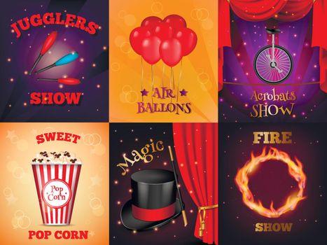 Realistic Circus Cards Set